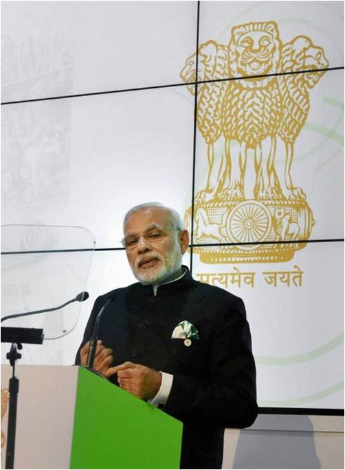 India's Prime Minister Narendra Modi Speaks at the Inauguration of India Pavilion at COP-21 on 30 November 2015,