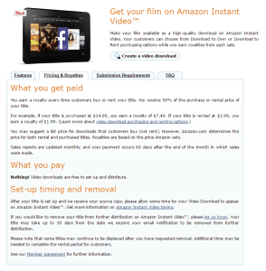 CreateSpace royalties for Amazon Instant Video rentals and purchases