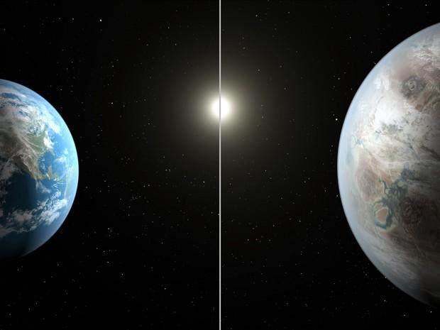 Concepção artística mostra o exoplaneta Kepler-452b, o primeiro com tamanho aproximado da Terra a ser encontrado em uma zona habitável (Foto: NASA/JPL-Caltech/T. Pyle).