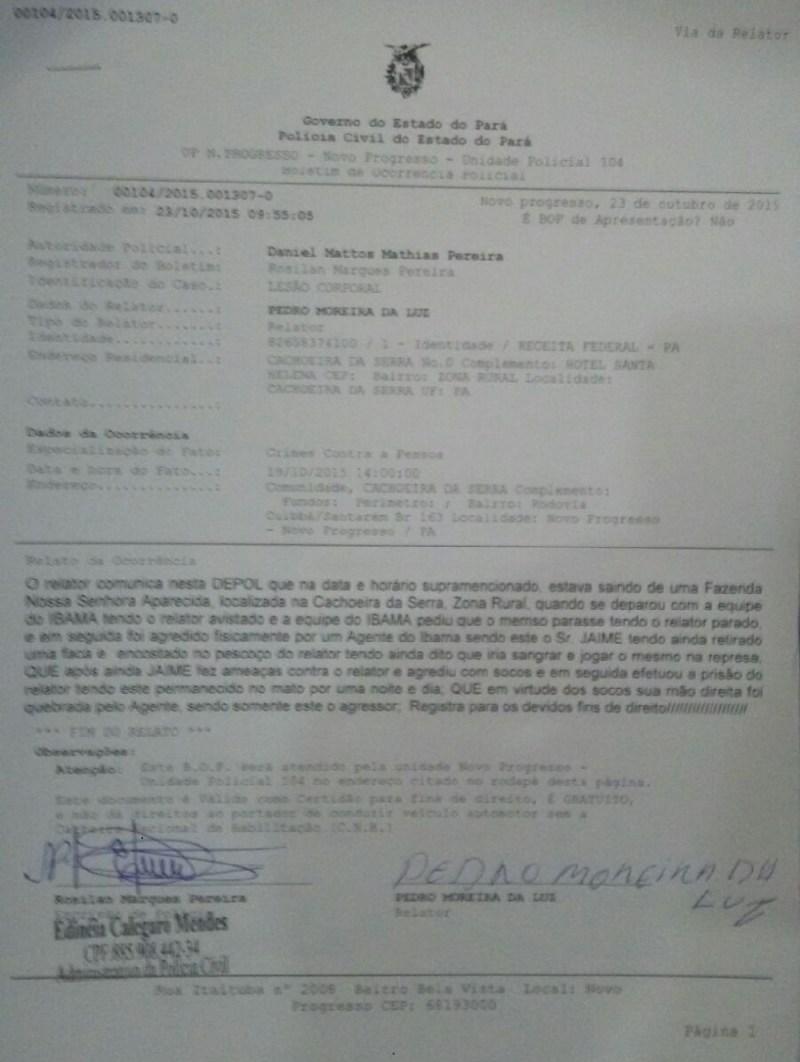 BOLETIM DE OCORRÊNCIA- POLICIA CIVIL NOVO PROGRESSO