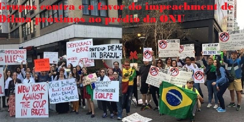 Grupos contra e a favor do impeachment de Dilma próximos ao prédio da ONU