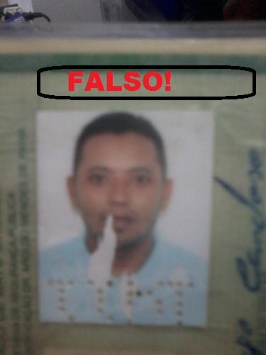 Documento falso encontrado com vitima.