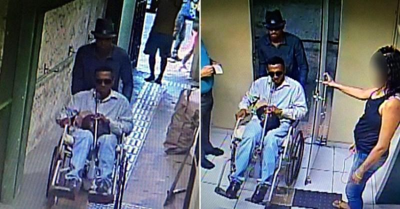 Assaltantes usaram uma cadeira de rodas para não passar pelo detector de metais e entrar armados. (Foto: via Whatsapp)