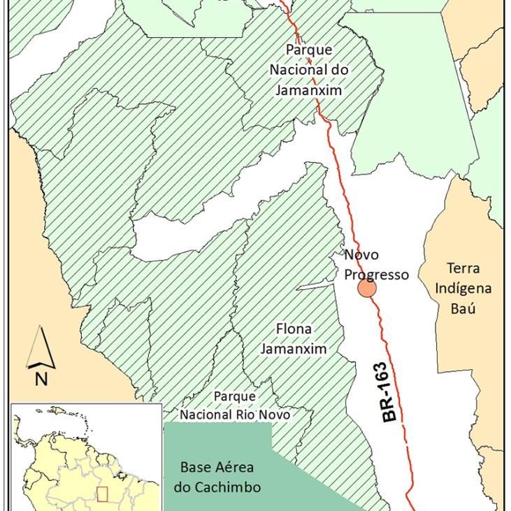 Unidades de conservação criadas ao longo da BR-163. Elaboração: Mauricio Torres