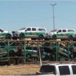 Sob forte esquema de segurança cegonhas com novas camionetes do IBAMA chegam em Novo Progresso