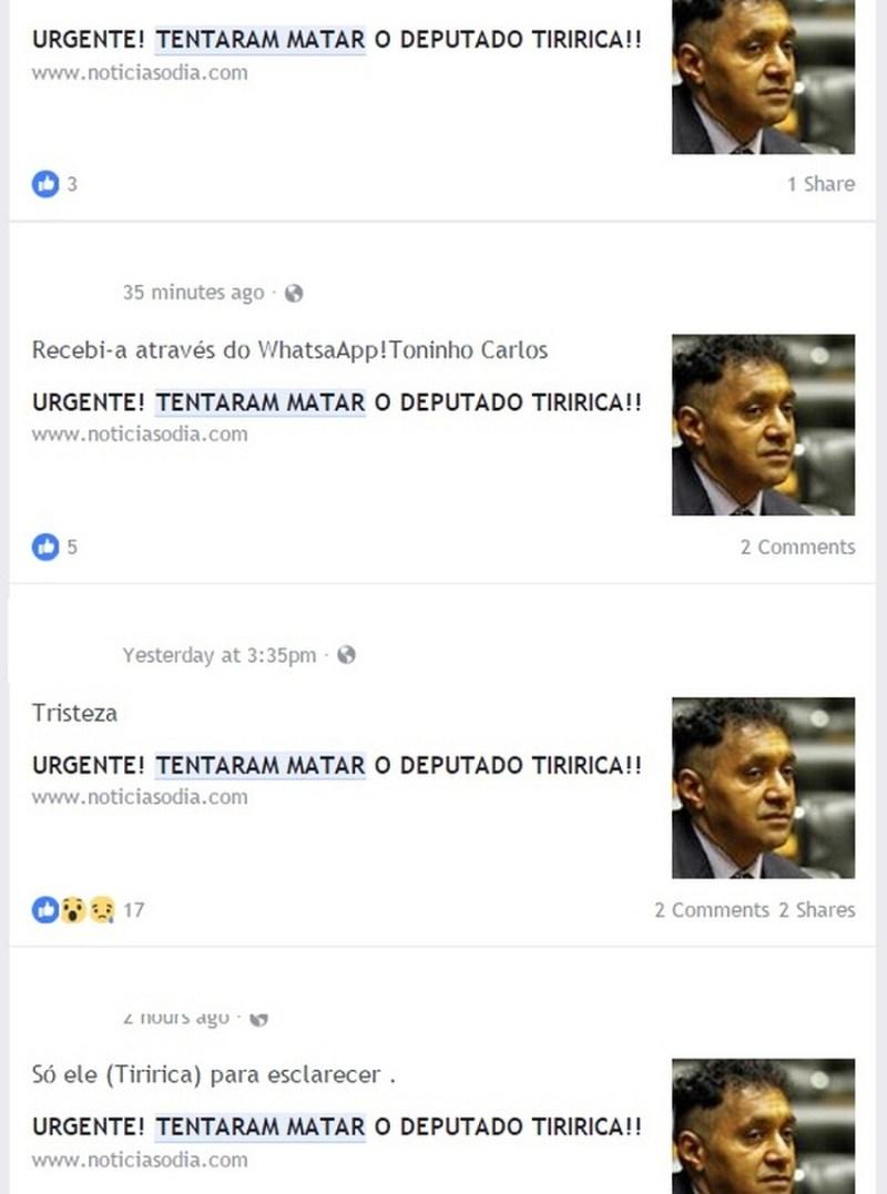 Repercussão de texto falso no Facebook sobre tentativa de homicídio contra Tiririca (Foto: Reprodução/ Facebook )
