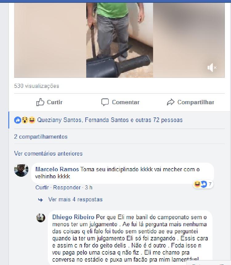 Diego Ribeiro comentou postagem no Facebook