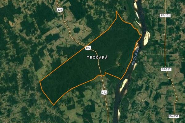 Terra indígena Trocará tem 22 mil hectares localizados nos municípios de Baião e Tucuruí. Imagem: Instituto Socioambiental - site Terras Indígenas do Brasil