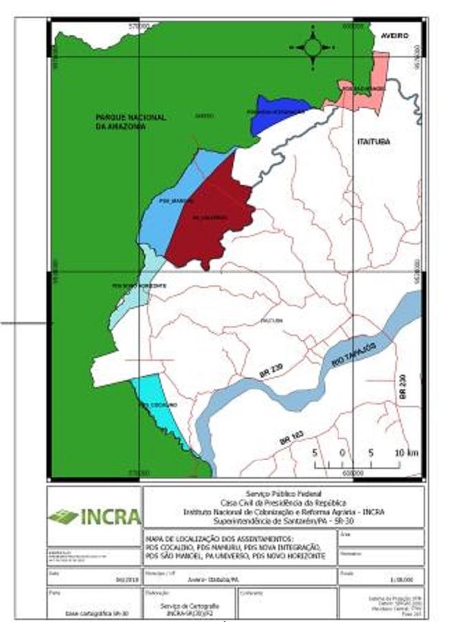 Mapa com a localização dos seis assentamentos criados pelo Incra