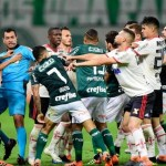 Confusão e seis expulsões marcam o empate do Palmeiras com Flamengo