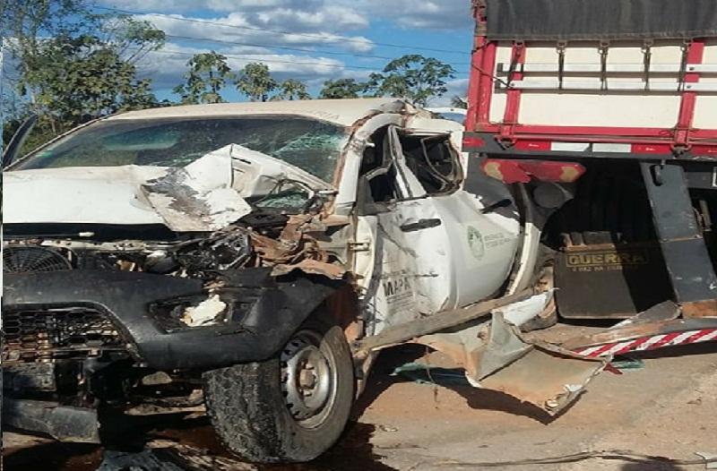 Caminhonete Da Adepará se envolve em acidente na BR 163