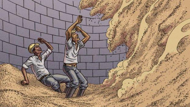 Direito de imagem Vitor Flyn/BBC News Brasil  Quando massa de grãos está desnivelada no silos, deslocamentos podem soterrar trabalhadores em poucos segundos