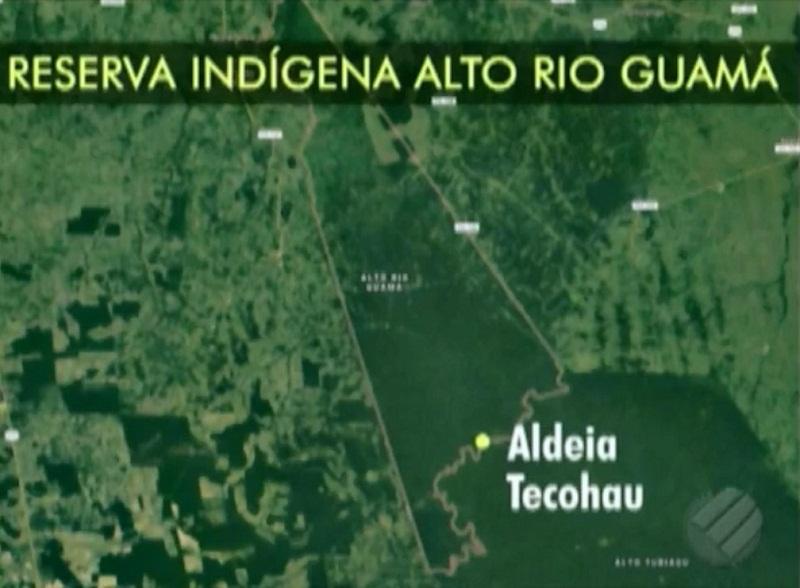 Local do conflito na Reserva Indígena, que tem aproximadamente 279 mil hectares e abrange pelo menos quatro municípios do Pará. Em toda a reserva, vivem cerca de 1800 indígenas, sendo a maioria da etnia Tembé. — Foto: Reprodução / TV Liberal