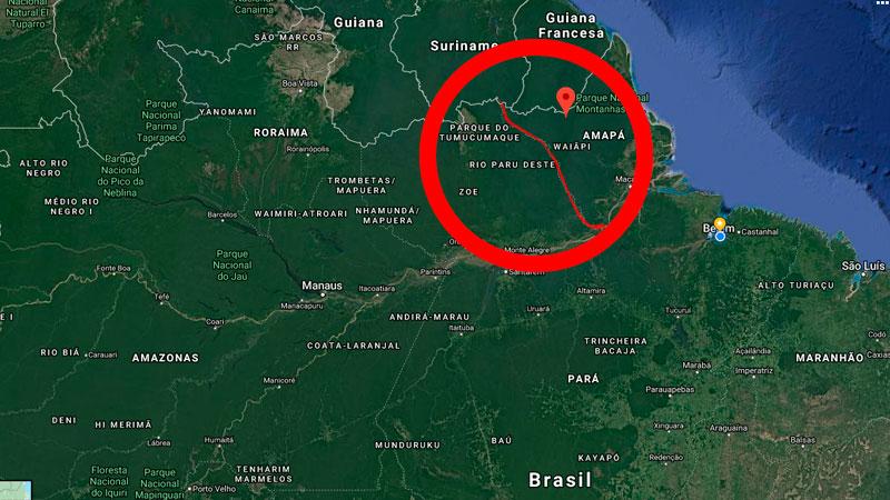 Porção de terra da comunidade indígena fica entre os estados do Amapá e Pará (Foto: Reprodução/Google Maps)