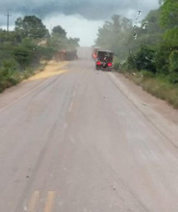 O acidente ocorreu em um trecho sem curvada rodovia BR-163 (Foto:Adelar Belling viaWhatsApp)