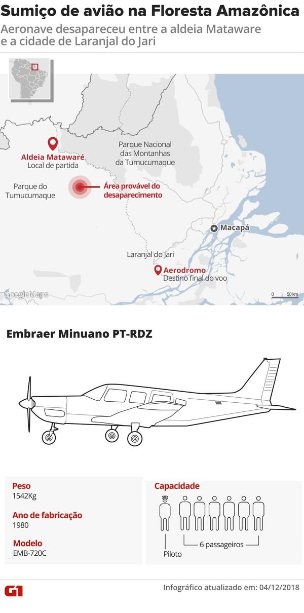 ATUALIZADA - Local de sumiço de avião na Floresta Amazônica — Foto: Arte/G1