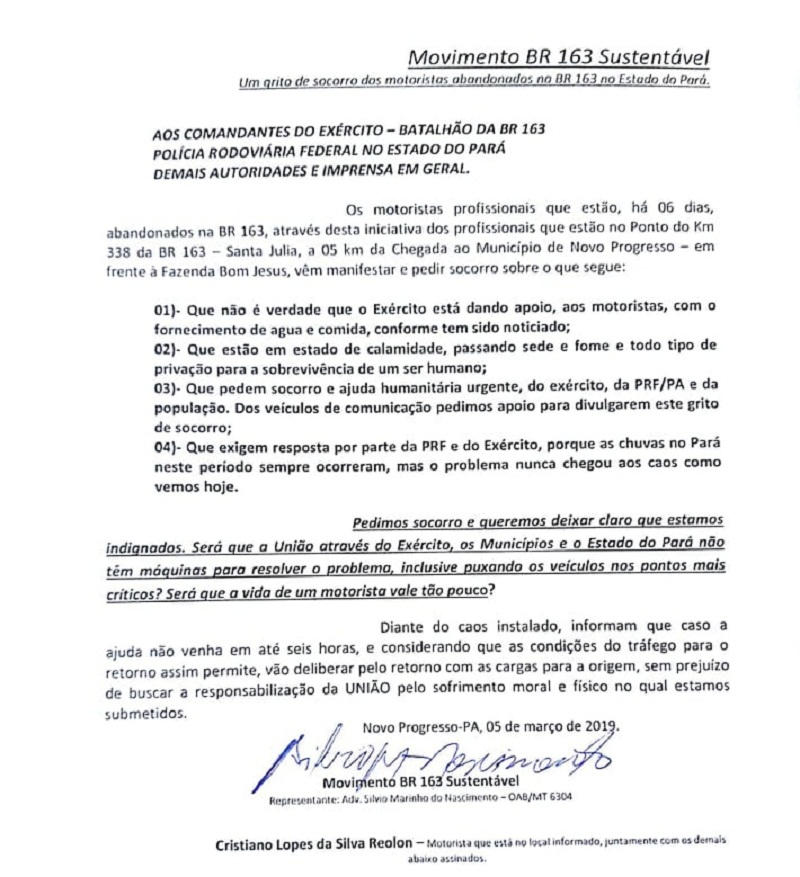 Reivindicações do movimento(Foto:Divulgação) Documento enviado para as autoridades do Pará (Foto: Leitor)