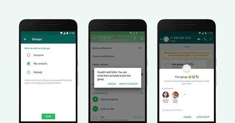 Passo a passo a mudar configurações para a entrada em grupos no WhatsApp — Foto: Whatsapp/Divulgação