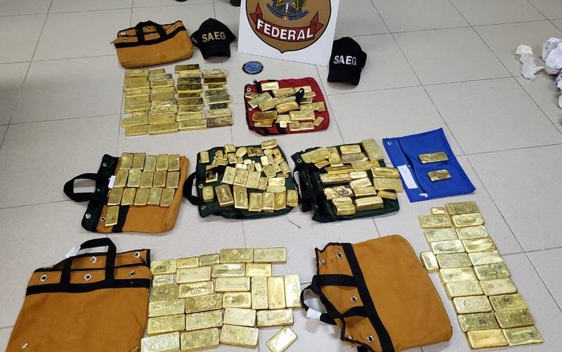 Os 111 kg de ouro apreendidos em avião monomotor no aeroporto de Goiânia — Foto: Divulgação/Polícia Federal