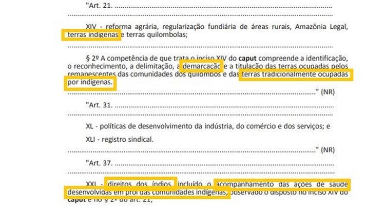 Trecho de MP que transfere a competência da demarcação de terras indígenas para o Ministério da Agricultura — Foto: Reprodução/Imprensa Nacional