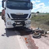 Motociclista morre em batida contra caminhão na Rodovia Br 163 em Novo Progresso.