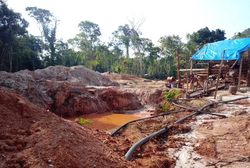 Barracos e instalações no garimpo ilegal de Aripuanã — Foto: Polícia Federal de Mato Grosso/Assessoria