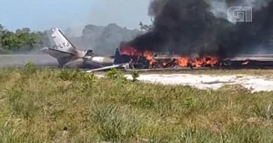 Aeronave caiu em Maraú, na Bahia — Foto: Dudu Face/Camamu Noticias