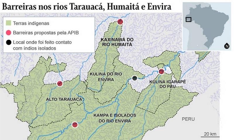 Mapa apresentado no relatório da Apib aponta para locais que necessitam de barreiras sanitárias (em vermelho) em áreas de povos isolados na Amazônia Foto: Reprodução