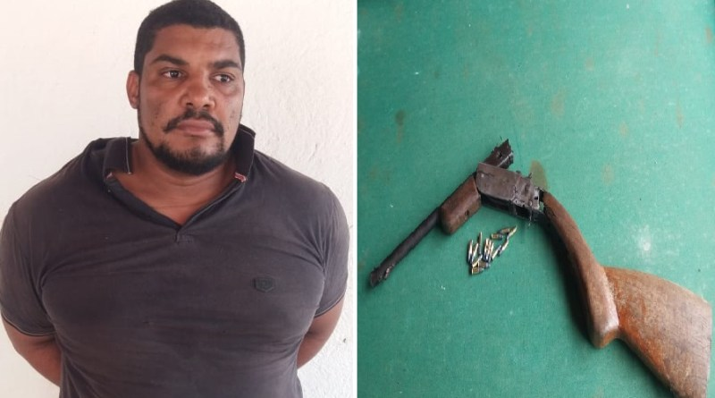 Lucinei Gabriel da Silva, de 33 anos, foi preso ele é suspeito de participar do homicídio de Jackson Fernandes Guimarães, de 27 anos, e da tentativa de homicídio de Marcio Minas Silva Borges de 39 anos no distrito de Moraes Almeida município de Itaituba.