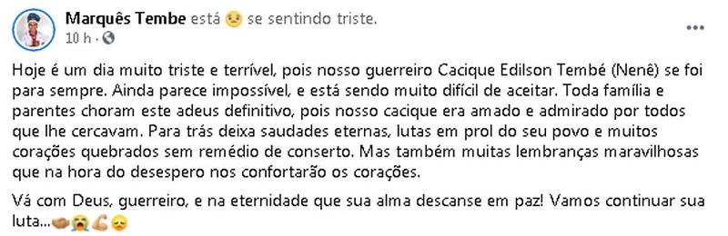Parente lamentando morte de cacique Edilson Tembé, no Pará. — Foto: Reprodução / Facebook