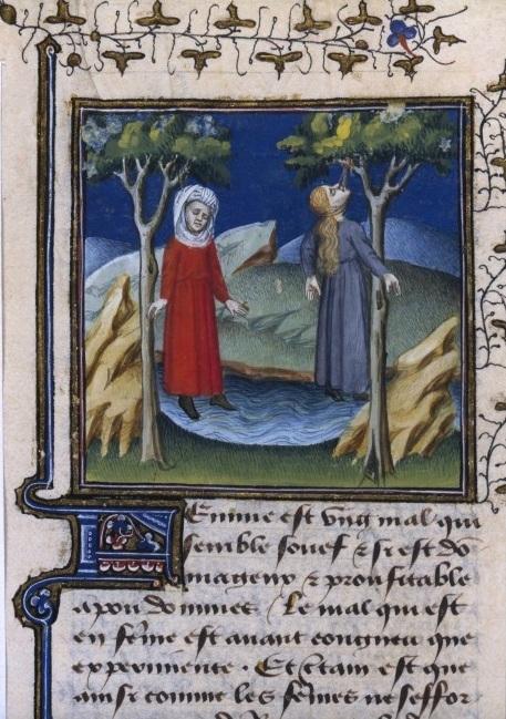 Il suicidio di Amata e Fillide, miniatura tratta da una traduzione in francese del XV secolo del De casibus virorum illustrium del Boccaccio