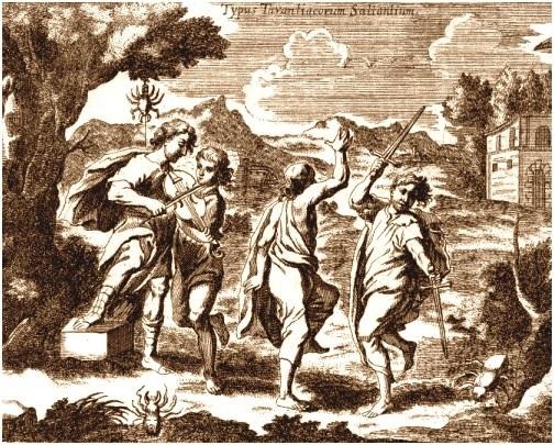 Typus Tarantiacorum saltantium. Dalla Phonurgia nova del   P. Kircher (1673)