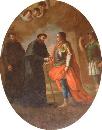 2. S. Lillo (attr.), San Giuseppe da Copertino converte il duca Giovanni Federico di Sassonia. Copertino, Santuario di San Giuseppe da Copertino (ph. S. Tanisi)