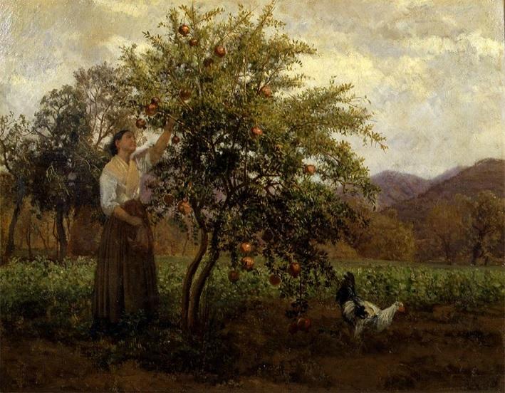 Albero di melograno e donna che ne raccoglie i frutti (1864), Roma, Galleria d'arte moderna e contemporanea