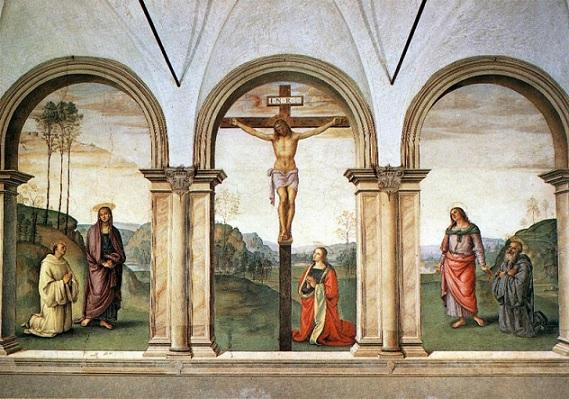 immagine tratta da http://it.wikipedia.org/wiki/Crocifissione_del_Perugino#mediaviewer/File:The_Pazzi_Crucifixion.jpg