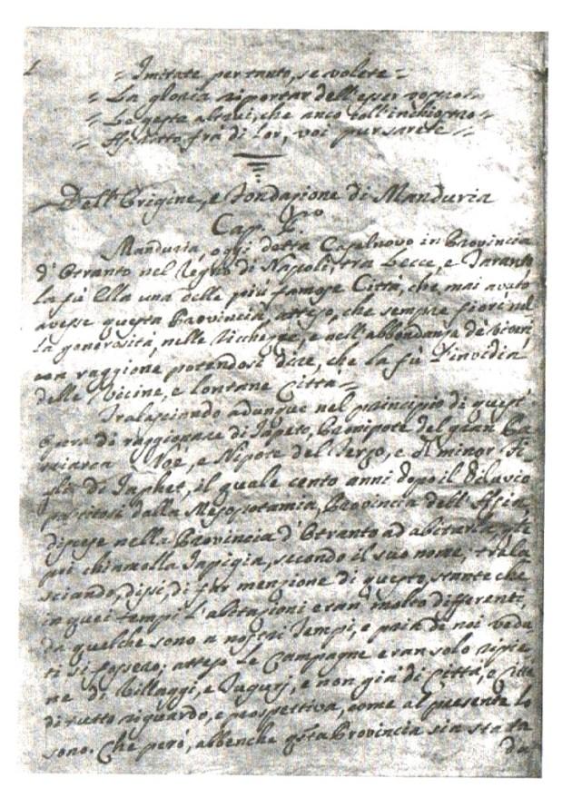 il manoscritto Saracino di cui si è fatto cenno nel testo