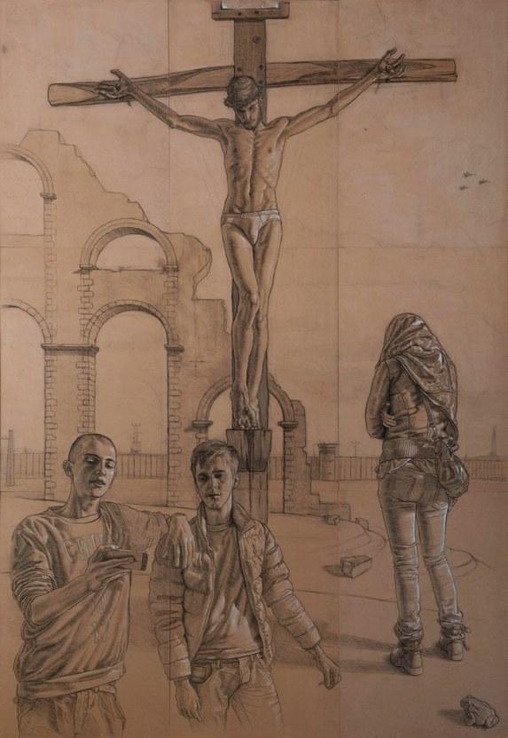Studio per una Crocifissione - 2015 - cm 300 x 210, carboncino e biacca su mdf