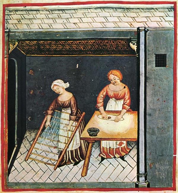 Miniatura dal Theatrum sanitatis, manoscritto (n. 4182) del XIV secolo custodito nella Biblioteca Casanatense a Roma  (immagine tratta da https://upload.wikimedia.org/wikipedia/commons/e/e8/6-alimenti%2C_pasta%2CTaccuino_Sanitatis%2C_Casanatense_4182..jpg)