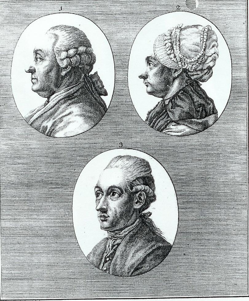 Nel'incisione del 1775 di Michael Wachsmuth: in alto Johann Caspar Goethe e Katharina Elisabeth Textor; in basso Johann Wolfgang