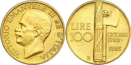 Fig. 1 - Moneta d'oro da 100 lire del 1923, sul rovescio l'emblema del fascio littorio