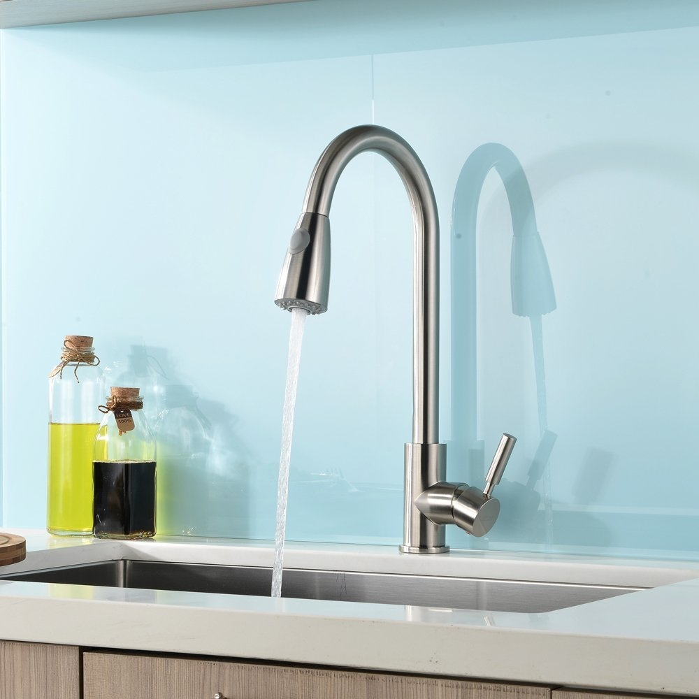 fsvap brushed nickel kitchen faucet Concordia Brushed Nickel Single Handle Kitchen Sink Faucet with Pull Down Sprayer