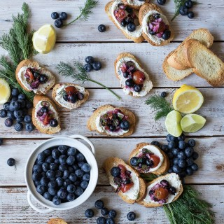 Honey Lemon Goat Cheese Crostini with Blueberry Salsa