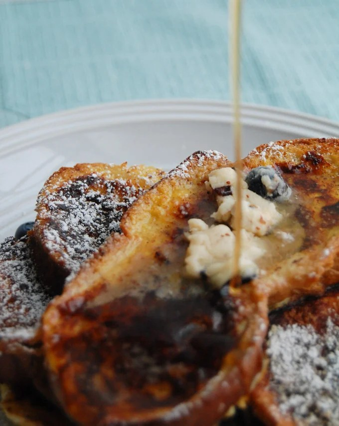 Challah bread french toast with blueberry butter