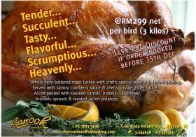 The Early Bird Gets a 15% Discount! Xmas Roast Turkey by Sanook Bistro and Bar Kelana Jaya