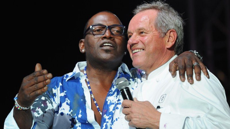 Randy Jackson and Wolfgang Puck yuk it up at the opening of Los Angeles Food and Wine last night.