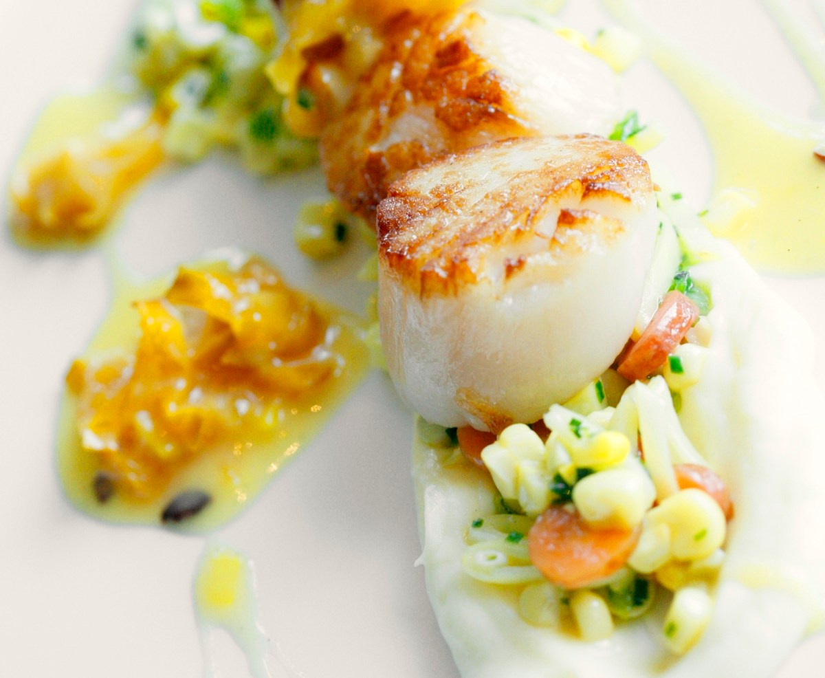 Seared Scallops With Carambola Sauce, Parsnip And Succotash | Food ...