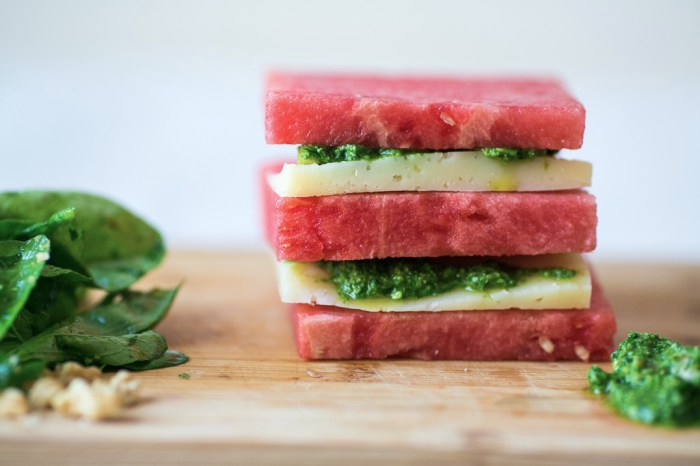 Watermelon And Manchego Stack With Arugula Pesto | Food Republic
