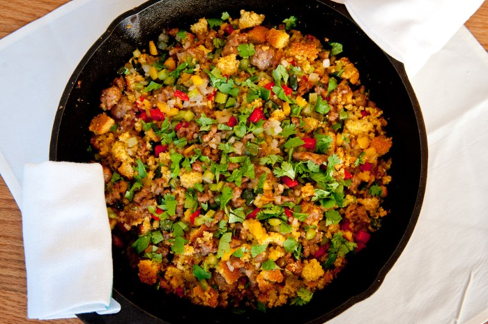 Three-Pepper Sausage Cornbread Dressing Recipe | Food Republic