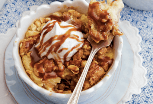 Peanut Butter-Banana-Sandwich Bread Pudding With Dark Caramel Sauce Recipe