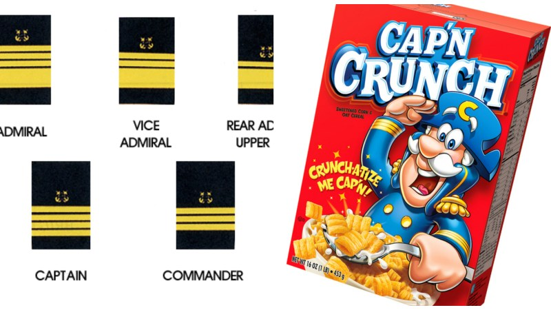 U.S. navy ranks on the left. A box of Cap'n Crunch on the right. You do the math.